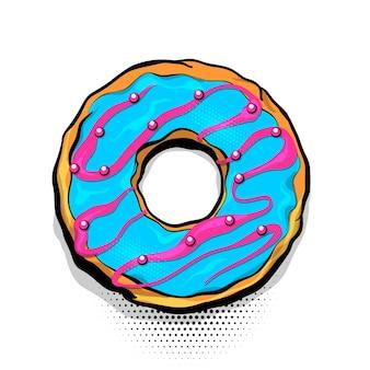 Ciambella cibo dolce ciambella cartone animato stile pop art poster di focaccina smaltata da forno a fumetti