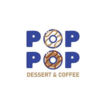 Modello di progettazione del logo di ciambelle per l'identità del marchio aziendale di fast food o colazione caffè