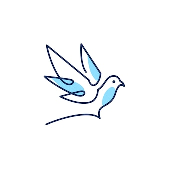Illustrazione di vettore dell'icona di vettore di logo della colomba del profilo di monoline