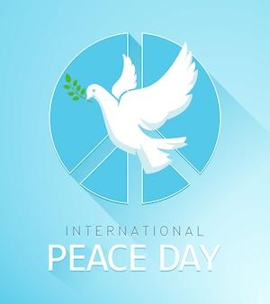 Colomba della pace con ramo d'ulivo e un segno di pace. il poster per la giornata della pace. illustrazione