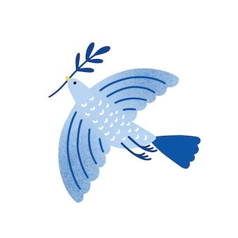Colomba con illustrazione vettoriale di ramo d'ulivo. uccello, piccione che tiene il ramoscello della pianta isolato su priorità bassa bianca. simbolo della festa ebraica tradizionale. metafora internazionale di pace e libertà.