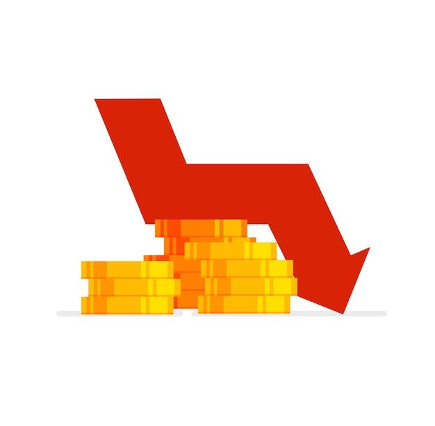 Grafico delle azioni freccia giù crisi finanziaria mondiale riduzione dei prezzi fallimento crollo dell'economia