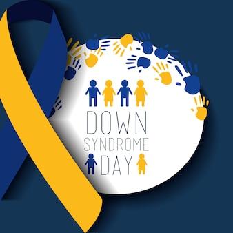 La gente del distintivo di giorno di sindrome di down ha dipinto la celebrazione del nastro delle mani