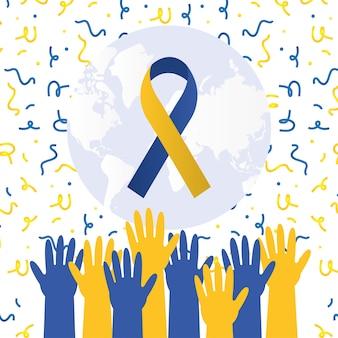 Nastro di giorno di sindrome di down sul mondo con mani in alto design, consapevolezza della disabilità e tema di supporto illustrazione vettoriale