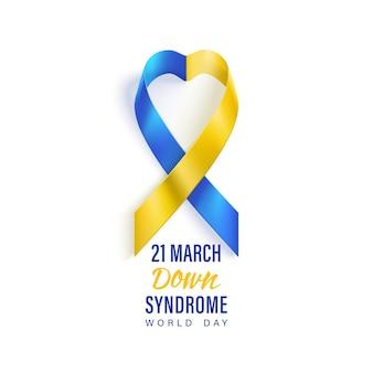 Banner di assistenza sanitaria per la giornata mondiale di sindrome di down con nastro fotorealistico blu e giallo.