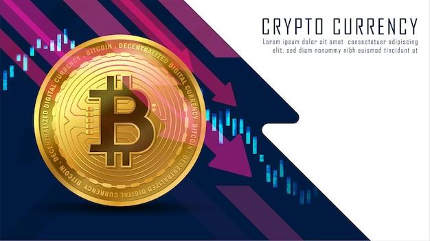 Tendenza verso il basso grafico tecnico del concetto di bitcoin con uno spazio vuoto bianco.