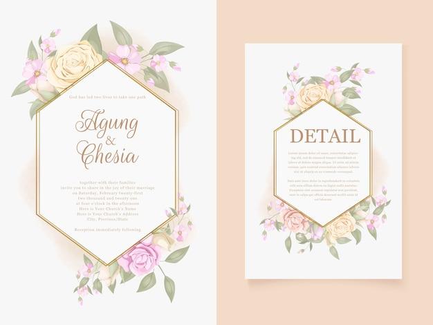 Scarica elegante carta di invito a nozze con rose e foglie