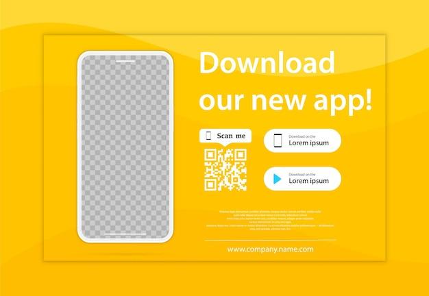 Pagina di download dell'app mobile. smartphone a schermo vuoto per le tue app. scarica la nostra nuova app, mobile app. pulsanti di caricamento. scarica la nostra app, sfondo. pagina banner dell'applicazione mobile