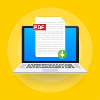 Scarica il pulsante pdf sullo schermo del laptop. download del concetto di documento. file con etichetta pdf e segno di freccia giù.