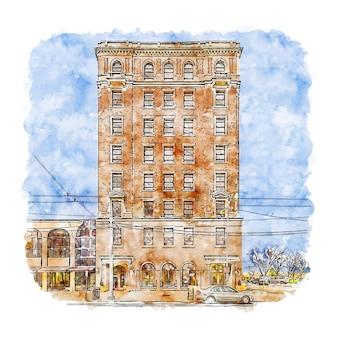 Illustrazione disegnata a mano di schizzo dell'acquerello di downtown dayton stati uniti
