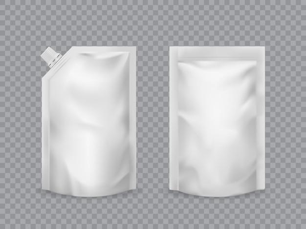 Mockup realistico di imballaggio alimentare con sacchetto doypack
