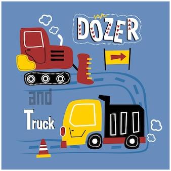Bulldozer e camion per strada divertente cartone animato