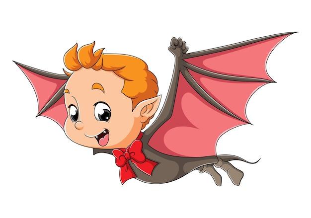 Il ragazzo dracula sta facendo volare le ali di pipistrello dell'illustrazione