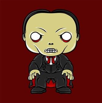 Dracula carino isolato su colore rosso