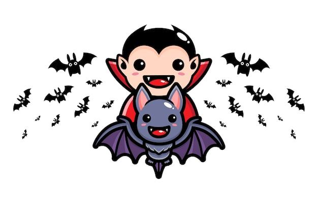 Dracula che vola su simpatici pipistrelli