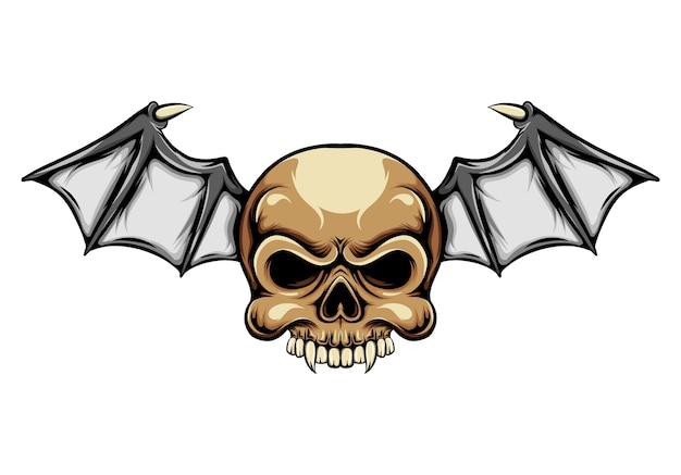 Teschio con testa di dracula con ali di pipistrello per l'ispirazione del logo della motocicletta