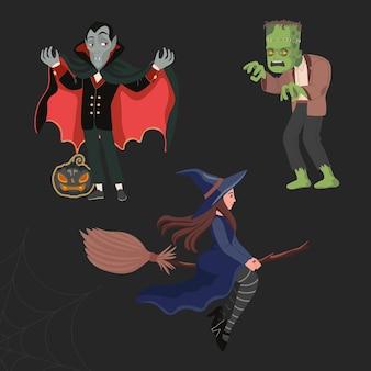 Dracula o vampiro, una strega su un manico di scopa e un mostro verde spaventoso: frankenstein. felice vettore di halloween