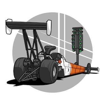 Trascinare la macchina da corsa Vettore Premium