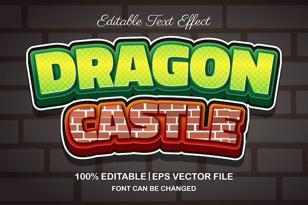 Effetto di testo modificabile 3d del castello del drago