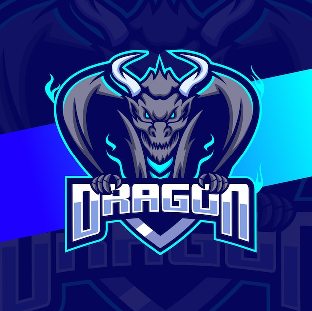 Disegno del logo e-sport della mascotte del personaggio del drago