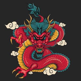 Illustrazione del materiale illustrativo del drago e della nuvola