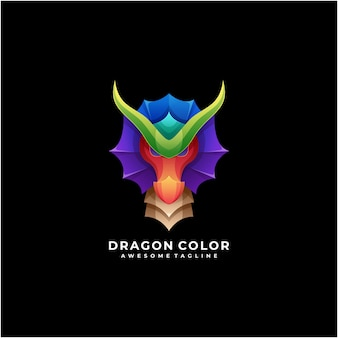 Dragon colorato logo astratto design moderno