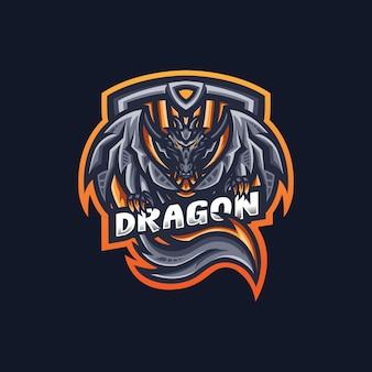 Modello di logo della mascotte di gioco del drago esport per la squadra di streamer.