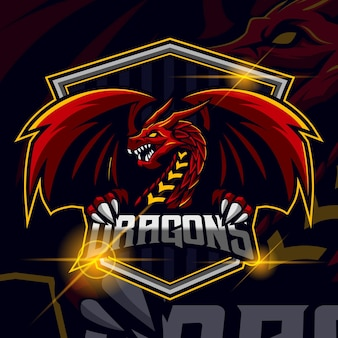 Dragon esport logo template design vector illustration