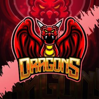 Design del logo della mascotte di dragon esport