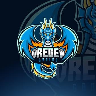 Modello di logo della mascotte di dragon esport