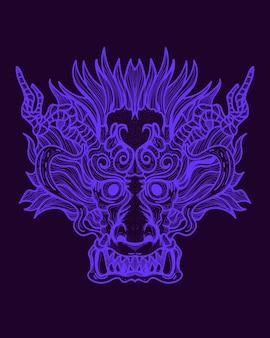 Illustrazione di opera d'arte faccia di drago