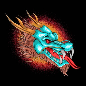 Illustrazione della testa di fantasia del drago