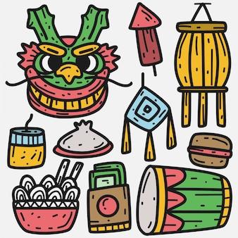 Illustrazione di kawaii di doodle del fumetto di dragon festival