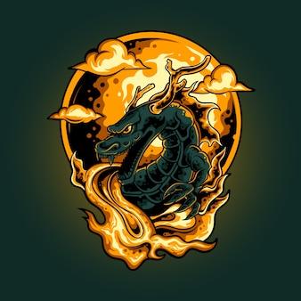 Illustrazione di fuoco del drago