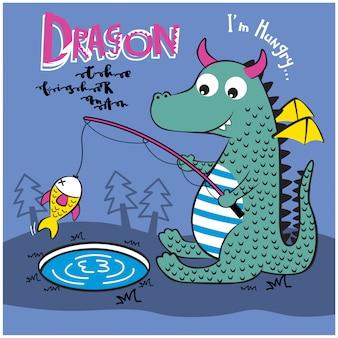 Pesca del drago nel lago animale divertente cartone animato, illustrazione vettoriale