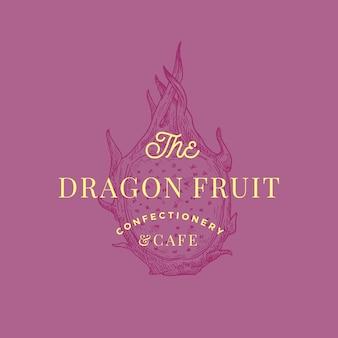 Segno astratto di dragon fruit cafe, simbolo o modello di logo.