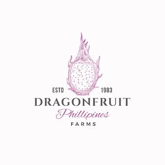 Segno astratto di dragon fruit farms, simbolo o modello di logo.