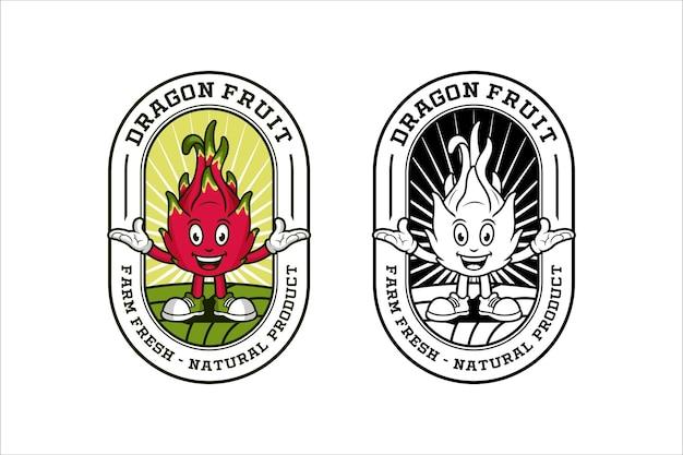 Logo del modello di disegno della mascotte della frutta del drago