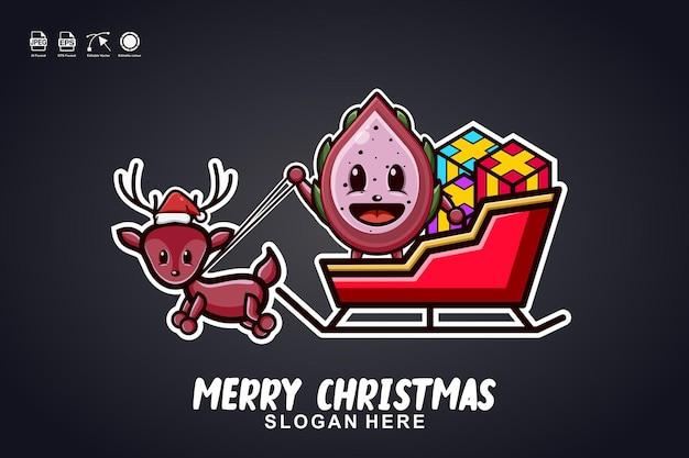 Drago frutta slitta giro buon natale simpatico personaggio mascotte logo design