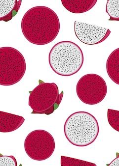 Reticolo senza giunte della fetta della frutta del drago Vettore Premium