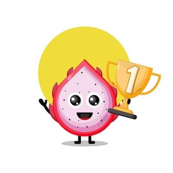 Trofeo di frutta del drago simpatico personaggio mascotte
