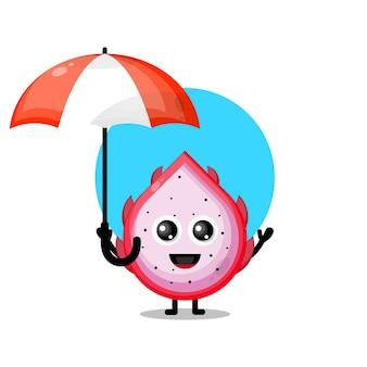 Simpatico personaggio mascotte dell'ombrello della frutta del drago