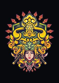 Illustrazione di disegno della maglietta del samurai della ragazza del drago