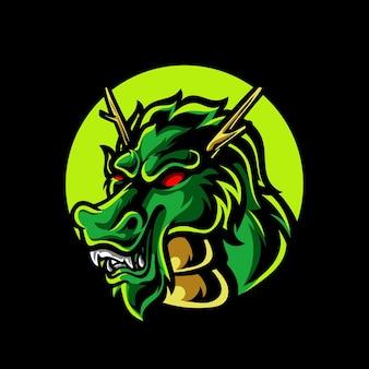 Logo della mascotte di dragon head e sport