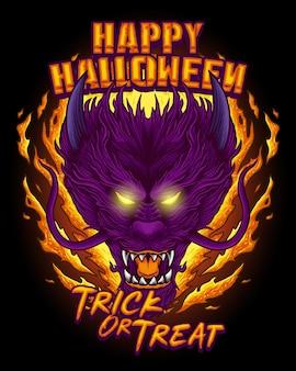 Testa di drago versione di halloween con illustrazione di disegno a mano in stile fuoco