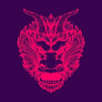 Illustrazione di arte della linea di testa di drago