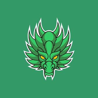 Logo della testa del drago Vettore Premium