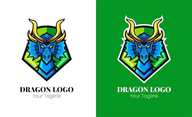 Disegno del logo della mascotte della testa di drago