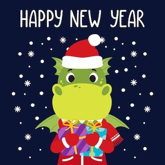 Il drago tiene i regali. cartolina d'auguri di felice anno nuovo con dinosauro.