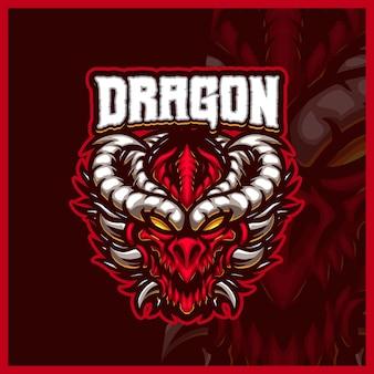 Illustrazioni di design del logo esport della mascotte di dragon horn